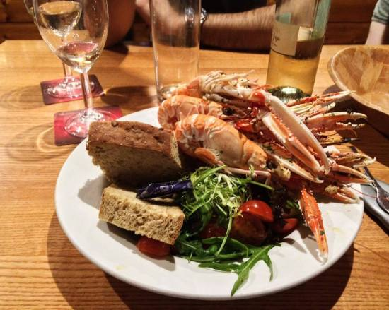 Plate of langoustines served in the Applecross Inn